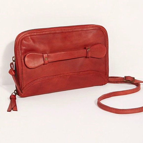 We the Free people traveler wallet red leather